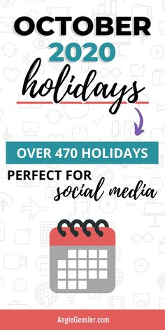 Looking for holidays to celebrate on social media? Check out this massive list of over 470 holidays for October 2020. #Holidays #SocialMedia #AngieGensler Social Media Content, Social Media Tips, Social Media Marketing, Direct Marketing, Facebook Marketing, Marketing Strategies, Content Marketing, Digital Marketing, Holiday List
