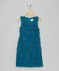Take a look at this Turquoise Tier Ruffle Dress - Girls by Sweet Heart Rose on #zulily today!