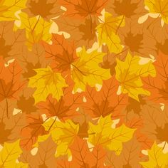 Autumn Leaves Background | Maple Leaf Seamless Pattern | Seamless Background.