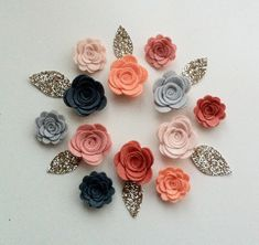 12 Hand made wool blend felt 3d flowers/roses & 6 by cutzbothways
