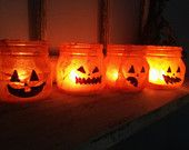Pumpkin Candle Holder Halloween Mason Jars. Perfect for Gifts, Home Decorations, Centerpieces, and much much more!
