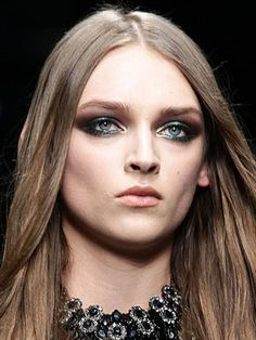 Makeup Ideas: The 5 Best Makeup Looks from Milan Fashion Week Fall 2012: Daily Beauty Reporter : Peacock eyes, black cherry lips, and high-definition cheekbones. No, this isn't a scene from The Hunger Games. They're just some of our favorite looks from the Milan runways this week:...