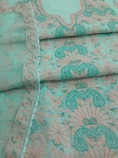 Lucknow Chikankari Online Suit Length 3 piece sea green cotton with very fine murri, shadow & kangan work with designer neckline & pure chiffon dupatta with chikan border  $76.5