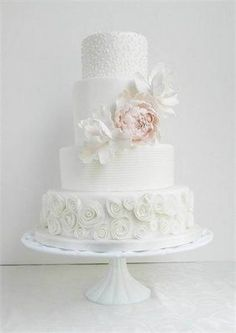 Beautiful Cake Pictures: Pretty White Wedding Cake with Pink Peony - Elegant Cakes, Wedding Cakes - White Roses Wedding, White Wedding Cakes, Elegant Wedding Cakes, Elegant Cakes, Cake Wedding, Wedding Cake Frosting, Wedding Cake Toppers, Wedding Cake Prices, Wedding Cake Designs