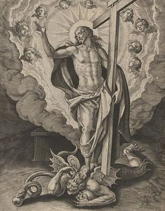 I'll bet Satan thought he won when Jesus was crucified. That is until Jesus showed up, defeated him and then rose from the dead! Catholic Art, Religious Art, Christus Tattoo, Gott Tattoos, Colonial Art, Jesus Tattoo, Jesus Art, Biblical Art, Angels And Demons