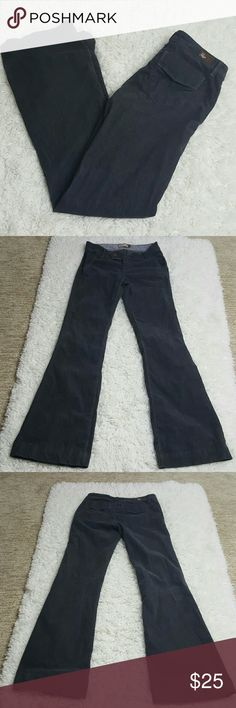 """Paige Corduroy Dark Grey Santa Monica Pants 26 Dark gray Corduroy pants. Flared bottom. Faux flap pockets on back. Preloved no flaws.  Women's Size 26.   Approximate measurements laid flat- Waist- 14.5"""" Length- 40"""" Inseam- 32"""" Leg opening- 9.5""""  82% Cotton 16% Polyester 2% Spandex  #1115 PAIGE Jeans Flare & Wide Leg"""
