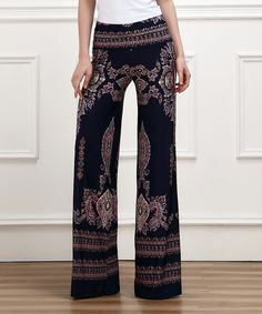 Look at this Navy Damask High-Waist Palazzo Pants on #zulily today!