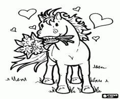 για ζωγραφική Αλογάκι με λουλούδια και καρδιές