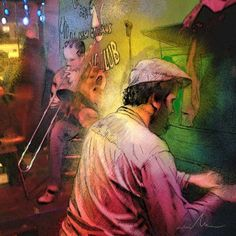 The Jazz Vipers in New Orleans 01 - © 2010 Miki de Goodaboom - Painting of the Jazz Vipers in the Spotted Cat in the Frenchmen Street in New Orleans Painting Online Artworks
