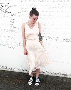 Outfit der Woche! Chiffon-Camisole & Midi-Plisseerock: Tom Tailor Denim #fashion #ootw
