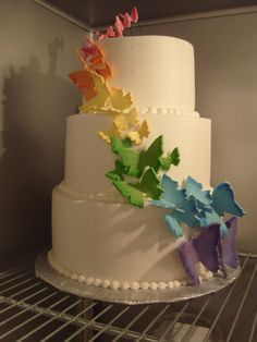 #Rainbow of #Butterflies #Cake - We totally love and had to share! Great #CakeDecorating!