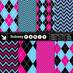 8 Chevron and Argyle Patterns in Blue, Hot Pink and Black with White Accent Lines. Perfect for Girls Monster Party or Halloween Backgrounds. Pattern Swatches made with Global Colors. Festa Monster High, Monster High Party, Paris Rosa, Sweet 16 Party Decorations, Black Chevron, Pink Black, Navy Blue, Coral Pink, Doll Party