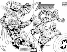 marvel superhero avengers in action coloring page for kids printable - Marvel Coloring Pages