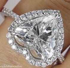 3.10CT ESTATE VINTAGE HEART DIAMOND ENGAGEMENT WEDDING RING 14K WG EGL USA