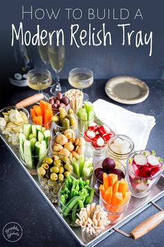If you want an easy appetizer for the holidays then this modern relish tray is a simple and unique party idea. Learn what to put on a relish tray, how. Veggie Appetizers, Appetizers For Party, Appetizer Recipes, Easy Holiday Appetizers, Veggie Platters, Veggie Tray, Tapas, Relish Trays, Party Snacks