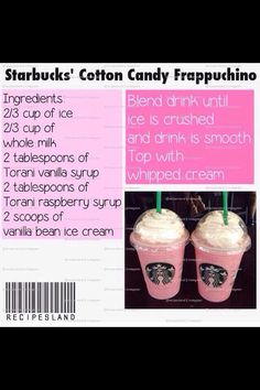 Make Your Own Starbucks Drinks! Save The Money And Know What's In Your Drink 😃😃 - Starbucks recipes - Coffee Drink Recipes, Milkshake Recipes, Milkshakes, Coffee Menu, Coffee Drinks, Yummy Drinks, Yummy Food, Tasty, Starbucks Secret Menu Drinks