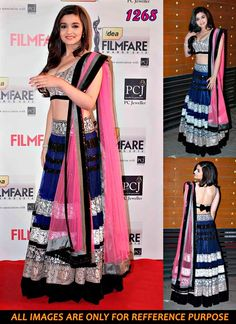 Alia Bhatt Blue Net Filmfare Awards Lehenga Choli. BUY NOW >> http://www.gravity-fashion.com/10437-alia-bhatt-blue-net-filmfare-awards-lehenga-choli.html