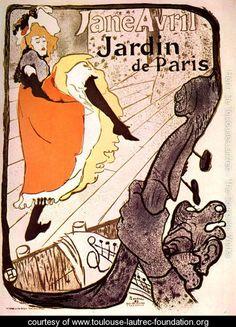 """Jane Avril, Jardin de Paris"" by Henri de Toulouse-Lautrec of the post-Impressionist movement. Known for his water color prints, Toulouse-Lautrec, was drawn to the area of Montematre and the Bohemian lifestyle."