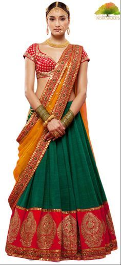 The Lakshmi lehanga in Green by Sabyasachi at Indianroots.com