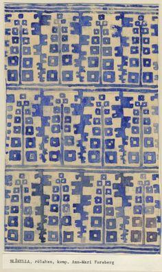 Rug design by ann-mari forsberg, or Motifs Textiles, Textile Patterns, Textile Prints, Textile Art, Color Patterns, Print Patterns, Ethnic Patterns, Lino Prints, Block Prints