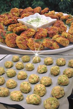 An easy recipe for healthy vegetarian oven meatballs! Greek Recipes, Meat Recipes, Cooking Recipes, Healthy Recipes, Party Food For Adults, Party Food Buffet, Food Garnishes, Savory Snacks, Easy Cooking