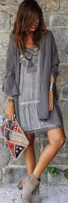 Curating Fashion & Style: Women's fashion | Grey dress, statement necklace, silver accessories, clutch