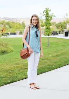 8f50b591de6 Sleeveless chambray shirt outfit with white jeans