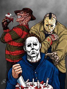 Vintage Halloween Killer stars t shirt tee new Horror Cartoon, Funny Horror, Horror Icons, Slasher Movies, Horror Movie Characters, Les Aliens, Horror Drawing, Horror Artwork, Images Gif