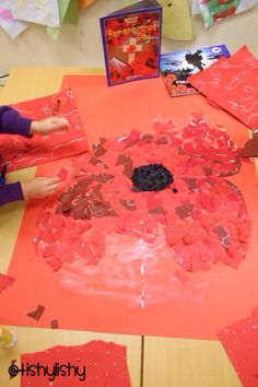Collaborative collage Remembrance Day Activities, Remembrance Day Poppy, Eyfs Activities, Creative Activities, Poppy Craft, Group Art Projects, Armistice Day, School Displays, Anzac Day