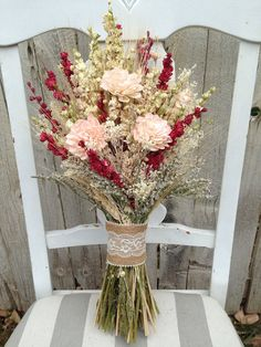 Blush bridal bouquet  dried flower bouquet  by Knot2ShabbyDesigns