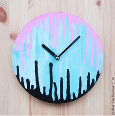 "Настенные часы ""С подтеками"". Handmade."