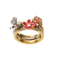 Juicy Couture Butterfly & Flower Encrusted Stacked Rings ($89) ❤ liked on Polyvore featuring jewelry, rings, accessories, fillers, pink fillers, jewellery wbrings, womenswear, pink druzy ring, engraved jewelry and pink flower ring