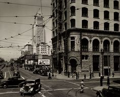 Looking north on Spring Street from 2nd Street, Los Angeles, 1939