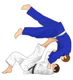 Vector illustration of Tomoe-nage Judo throwing technique.