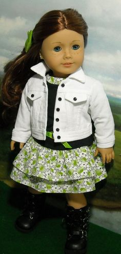Corduroy Jean Jacket, Dress and Tee by SugarloafDollClothes o Etsy  $75.00