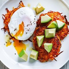 Sweet Potato Fritters With Poached Eggs and Avocado