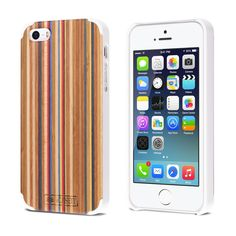 Amazon.co.uk: iPhone 5 / 5s Case | iCASEIT Handmade Premium Quality Genuinely Natural & Unique Wood Case Slim Profile | Strong & Stylish Snap on Back Bumper | Non-Slip, Precise Fit | Rainbow / White: Cell Phones & Accessories