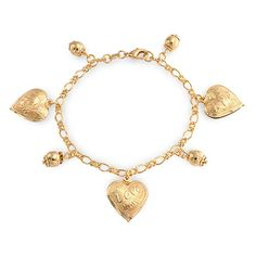 Bling Jewelry Message Love Heart Charm Bracelet Gold Filled 7.5 Inch. Message Love Heart Charm Bracelet. Lobster Claw Clasp. Material: Gold Filled Metal. Measure: 7.5 inch L x 0.15 inch W. Weight: 11.1 Grams.