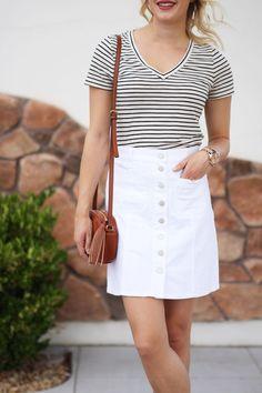 Summer outfit idea: white denim skirt with a striped t-shirt and crossbody bag via @treatstrends