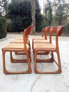 Lot de six chaises Traineau Baumann, des années 60.