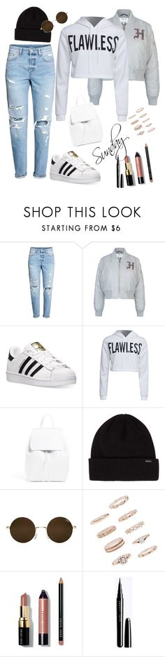 """""""It's Sunday"""" by esii-li ❤ liked on Polyvore featuring H&M, Tommy Hilfiger, adidas, WithChic, Forever 21 and Bobbi Brown Cosmetics"""