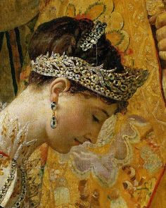 """The diamond diadem worn by Empress Joséphine to her coronation in 1804 and the small crown placed on her head by the Emperor ~  Details from the """"Coronation of Napoléon"""" ~ Jacques Louis David, 1808. Photo: Musée Louvre."""