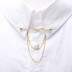 Gold Tone Shirt Collar Double Ends Clip Lapel with Chain