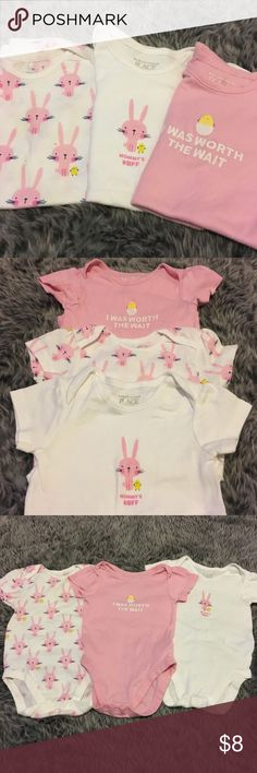 Bunny Onesie Bundle 🐰🐣 Good used condition. Bundle of 3 snap onesies that are perfect for Spring and Easter! The Children's Place One Pieces Bodysuits