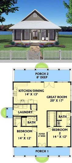 Switch kitchen/great room and bedrooms-Cottage AD Plan ~ 2 bdrm, 2 bath, mudroom/laundry area. Small House Floor Plans, Cabin Floor Plans, New House Plans, Dream House Plans, Retirement House Plans, 2 Bedroom Floor Plans, Guest House Plans, Small Cabin Plans, Br House