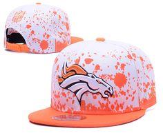 Men's Denver Broncos NFL Team Logo Painting Splatter Snapback Hat - White / Orange