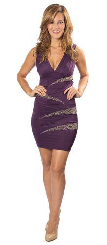 V-Neck Embellished Purple Cocktail Dress