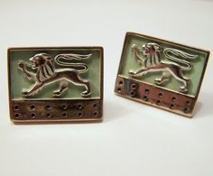 Vintage Men's Cufflinks Lion Design Silver by GretelsTreasures