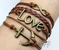 Bronze infinite love infinite & cool anchor the charm bracelet with brown strap brown leather cord knitting fashion bracelet -by luckystargift, $5.29
