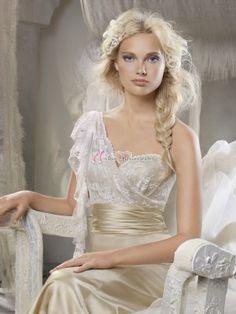 Ein-Träger Lang Lace Satin Brautjungfer Kleid Abendkleider
